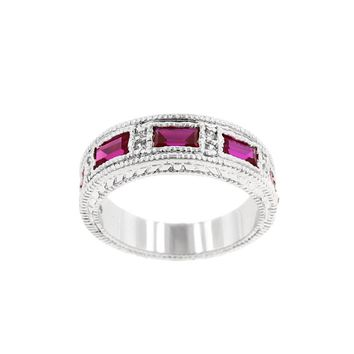 Le Chic White Gold Garnet Eternity Band with 5 Emerald Cut CZ Bezel Set in Silvertone