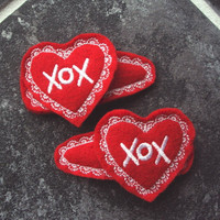 Felt Snap Hair Clip Barrette Valentine Hearts with XOX and lace stithces  Set of 2