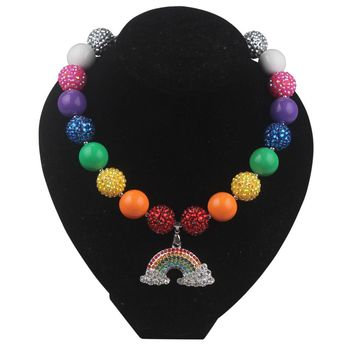 Rainbow Rhinestone Pendant Necklace Kids Chunky Bead Bubblegum Necklace Girls Jewelry