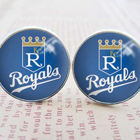 Unique Mens Cuff Links , Silver MLB Kansas City Royals Logo Cufflinks , Gift Box ,  Custom Cuff Links