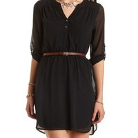 Belted Chiffon Shirt Dress by Charlotte Russe - Black