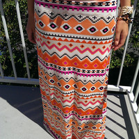 Orange and Pink Boho Maxi Skirt