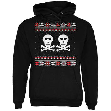 Skull and Crossbones Lovers Ugly Christmas Sweater Black Adult Pullover Hoodie