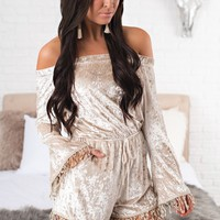 The Perfect Match Velvet Romper (Champagne)