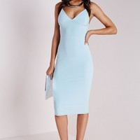SLINKY STRAPPY MIDI DRESS POWDER BLUE