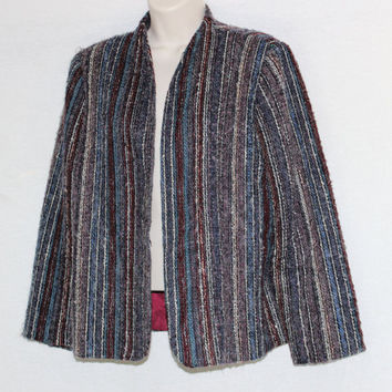 Vintage Boho Mohair Lambs Wool Size 16 Open Front Cardigan Jacket Blazer Fully Lined