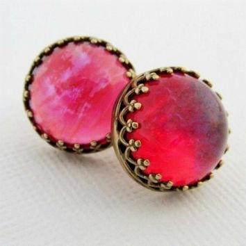 Round Red Opal Earrings, Red Stud Post Earrings, Mexican Opal Earrings, Dragons Breath Opal Earrings, Red & Purple Jewelry, Gifts For Her