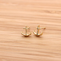 tiny ANCHOR stud earrings, 2 colors | girlsluv.it
