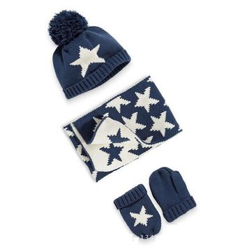Winter Warm kids beanies scarf hat gloves sets boys knitted caps Pom Poms ball star pattern children's thicken caps mittens set