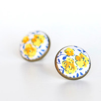 Provence Earring Studs  White Stud by PatchworkMillJewelry on Etsy