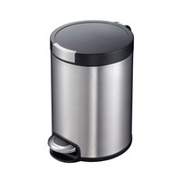 Artistic Stainless Steel Round 30l Soft-close Step Wastebasket Garbage Trash Can