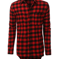 LE3NO Mens Hipster Hip Hop Longline Flannel Plaid Shirt with Side Zippers (CLEARANCE)