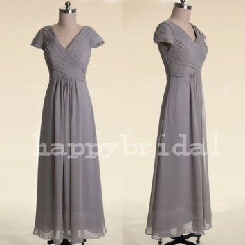 Long Gray Prom Dresses Short Sleeves Bridesmaid Dresses Party Dresses Formal Evening Occasions 2014 Wedding Events