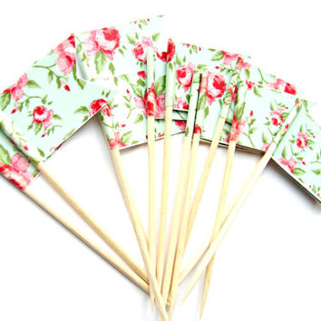 12 Mint Green & Pink Floral Cupcake Toppers - Washi Tape Cupcake Toppers, wedding, engagement, birthday, baby shower, tea party