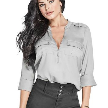 Layla Zip-Front Top at Guess