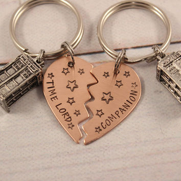 """Time Lord"" / ""Companion"" Copper Broken Heart Keychain set with TARDIS - Doctor Who"