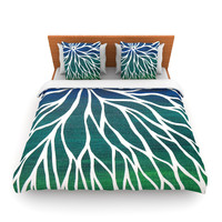 "NL Designs ""Ocean Flower"" Teal Green Fleece Duvet Cover"