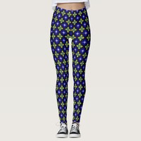 Abstract Garden Pattern in Royal Blue and Yellow Leggings
