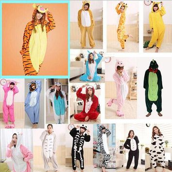 ONETOW 2017 Adults Flannel Pajamas All in One Pyjama Animal Suits Unisex Men Winter Homewear Cute Cartoon Animal Pajama Sets Sleepwear