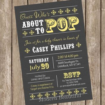 About to Pop Baby Shower Invitation, baby shower invitation, grey, yellow, gray,  typography, printable invitation