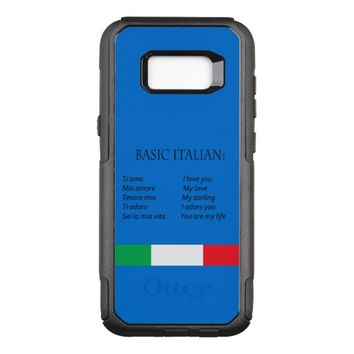 Flag of Italy and basic italian on azure blue OtterBox Commuter Samsung Galaxy S8+ Case