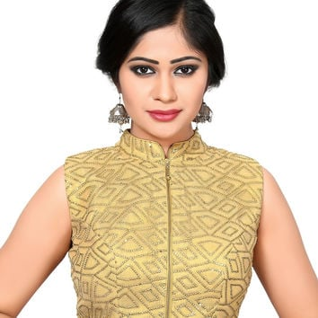 Front Zipper Gold Saree Blouse SNT-X-424-NS