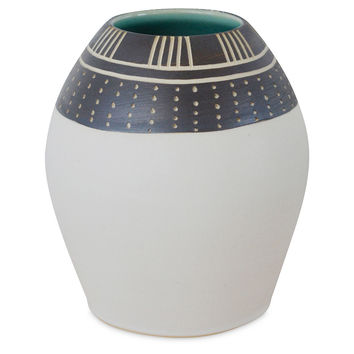 Banded Dot+Line Bud Vase, Black/White, Other Lifestyle Accessories