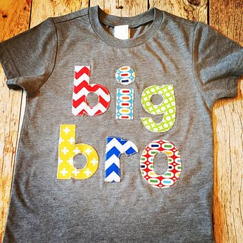 New Brother Big Sis to Be or Little Sister Birth Announcement Shirt lil bro chevron dot primary colors prengnancy newborn hospital outfit