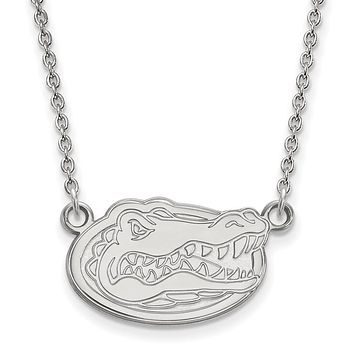 NCAA 14k White Gold U of Florida Small Gator Disc Pendant Necklace