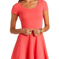 TEXTURED CROSS-BACK SKATER DRESS