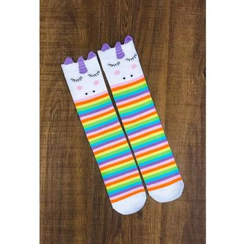 Kids Rainbow Unicorn Knee High Socks