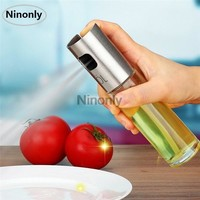 Stainless Steel Olive Oil Sprayer Oil Spray Bottle Pump Glass Oil Pot Leak-proof Drops Oil Dispenser BBQ Kitchen Cooking Tool