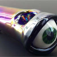 Irridescent Eye Glass Tobacco Pipe - H*137