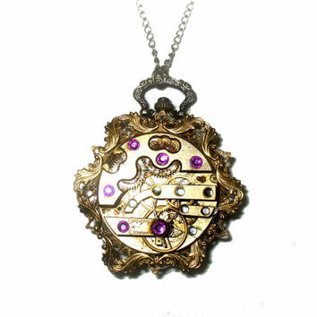 Steampunk Vintage Pocket Watch Pendant Necklace, Clockwork, Vintage Pocket Watch Movement, Battery Operated, Statement, Purple Rhinestones