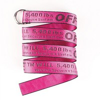 Off White New fashion more letter print canvas couple belt length 130 cm  Rose Red