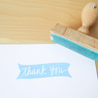 Thank you stamp - hand lettered thank you banner stamp - 2 3/4 inches wide READY TO SHIP