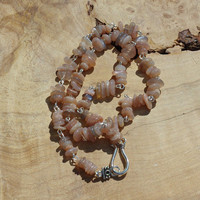 Sunstone Necklace ~ Unisex Stone Jewelry ~ Men's Necklace ~ Blush Pink Hue ~ Natural Stones ~ Gift for Him ~ Anniversary Gift ~ Hippy Style