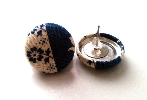 Floral and navy blue color block button earrings