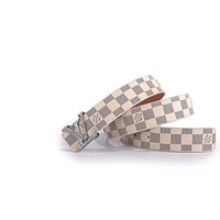 LV tide brand men and women models simple wild pattern letters smooth buckle belt white check