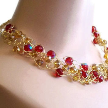 Glass Bead Necklace Red and Gold Crochet