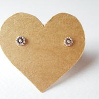 5 mm. Small Buttercup flower post stud earrings. 92.5% Oxidized Sterling Silver . Lovely charming design . Gift under 10