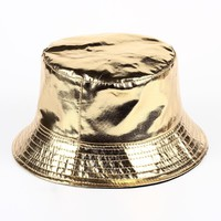 VORON 2017 New Fashion PU Hip Hop Caps Bucket Hats for Men and Women Hat Leather Bobs Panama Bapa Hat