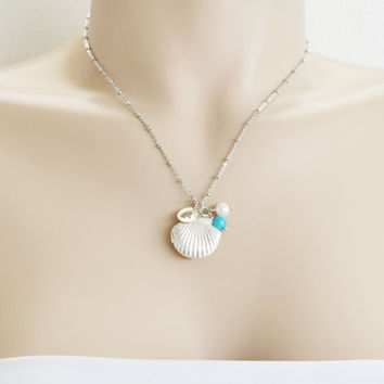 personalized seashell locket,best friend locket,initial locket,mermaid locket,silver shell locket,nautical jewelry,keepsake,bridesmaid gift