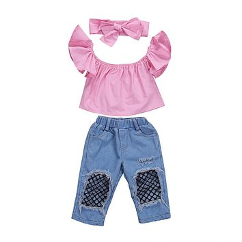 3Pcs Toddler Kids Girls Off Shoulder Tops Denim Pants Jeans Outfits Set Clothes Lovely Casual Brief Children Girl Clothing Set