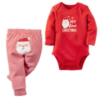 Baby Girl Boys Santa Claus Christmas Romper Top Cotton Pants Outfits Set Clothes