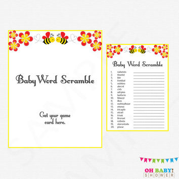 Bee Baby Shower, Baby Word Scramble, Bumble Bee Baby Shower, Bee Baby Shower Game, Honey Bee Gender Neutral, Baby Shower Word Scramble, BN01