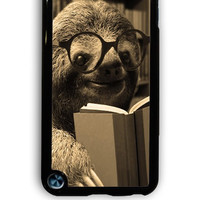 IPod 5 Case - Hard (PC) Cover with Sloth reading Plastic Case Design
