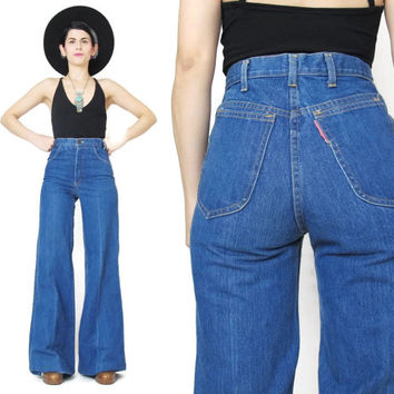 1970s High Waist Jeans Vintage 70s Flared Jeans Bell Bottoms Jean Machine Womens 1970s Jeans Blue Denim Medium Wash 25 Inch Waist Tall (XS)
