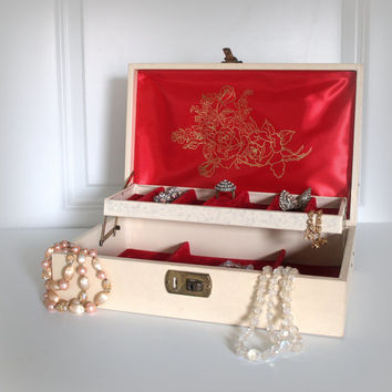 VINTAGE JEWELRY BOX - Jewelry Organizer - Pretty Cream Jewelry Box with Red Satin & Velvet Lining - Organizing Storage Compartments - Retro