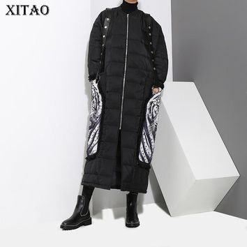 [XITAO] Europe 2017 Winter New Street Women Animal Pattern Print Wide-waisted Coats Female Full Sleeve Loose Parkas XWW1695